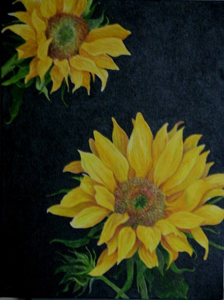 Sunflowers/acrylic on chunky canvas