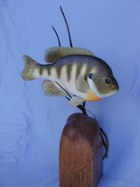 Bluegill wood sculpture